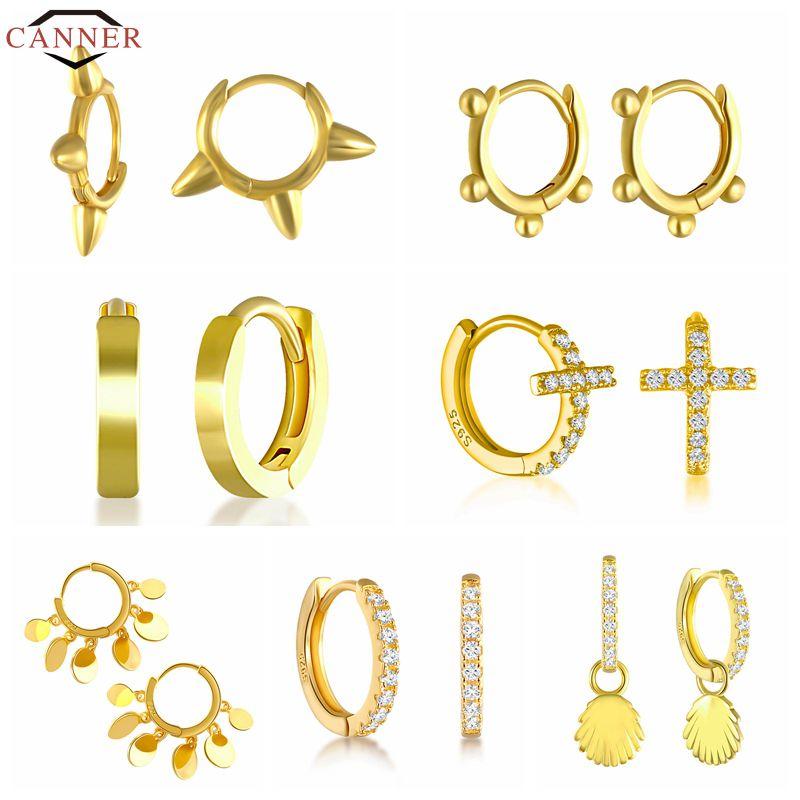 CANNER Real 925 Sterling Silver Geometric Bead Rivet Piercing Earrings for Women Round Cross Small Hoop Earrings INS Ear Jewelry