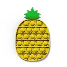 Adults Kids Pops It Fidget Cute Pineapple Carrots Shape Push-Pop Bubble Sensory Squeeze Toy Funny Anxiety Stress Relief