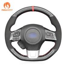 MEWANT Black PU Carbon Fiber Hand Sew Car Steering Wheel Cover for Subaru WRX (STI) Levorg 2015 2016 2017 2018 2019