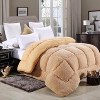 4d lambswool colcha de lã quente inverno engrossar edredão cobertor cordeiro para baixo tecido enchimento casa hotel luxo rei rainha Edredons     -