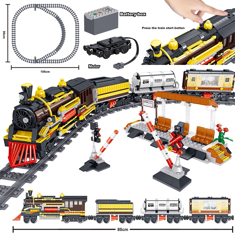 1464pcs RC Technic Battery Powered Electric Classic City Train Rail Building Blocks Bricks Educational Toys For kids Christams gifts