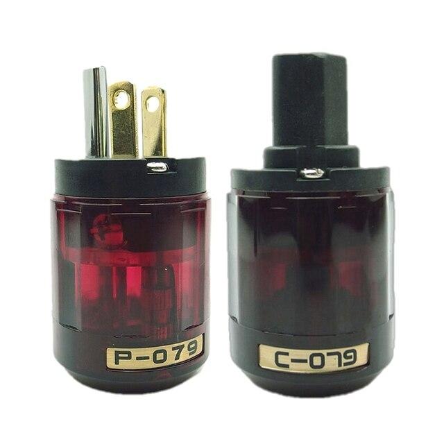 Oyaide Gold Plated C 079 IEC Female P 079 Male US Power plug Audio Connector Hifi DIY MATIHUR Audio hifi1 Pair