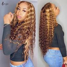 UWIGS rizado Peluca de cabello humano rubio miel Ombre 13x4 marrón brasileño agua profunda onda de encaje Frontal resaltar pelucas delanteras de encaje