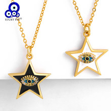 Lucky Eye Star Evil Eye Pendant Necklace Gold Color Chain Micro Pave Charm Necklace Fashion Jewelry Gifts for Women Female LE273(China)