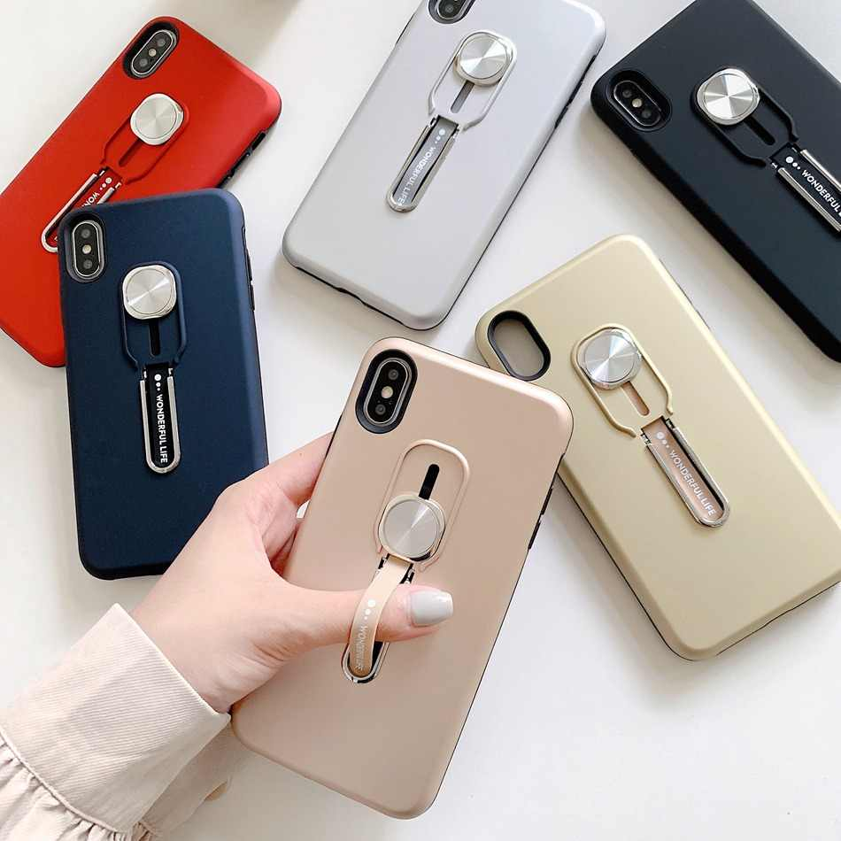 Floop Case For iPhone 11 Pro XR X XS Max 7 8 6 6s Plus Finger Loop Strap Cover Hide Stand Holder 2 In 1 Adsorption Hard Coque