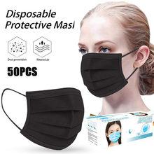 Masque facial jetable purifiant l'air, protection Anti-poussière, filtre buccal, respirateur, Masque noir, 50 pièces