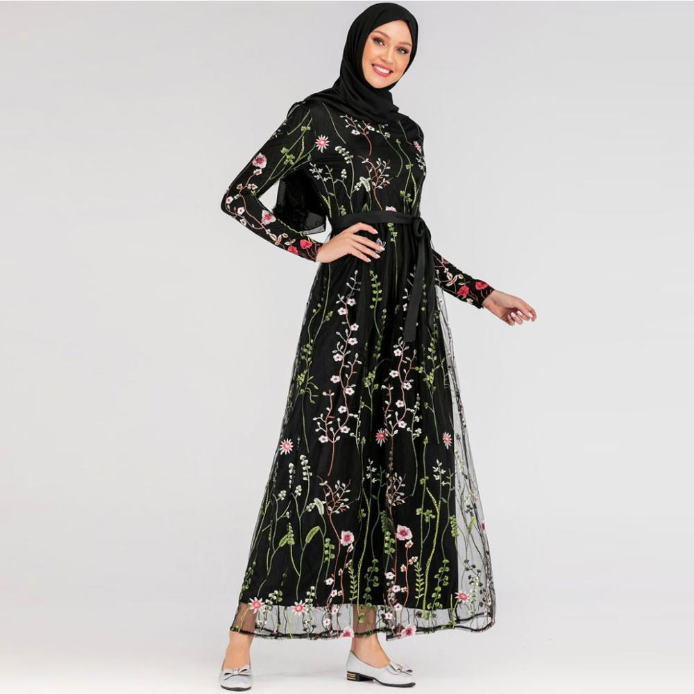 Dentelle florale Abaya Dubai robes turques Hijab Robe musulmane Abayas pour les femmes Caftan Caftan Robe vêtements islamiques Tesettur Elbise