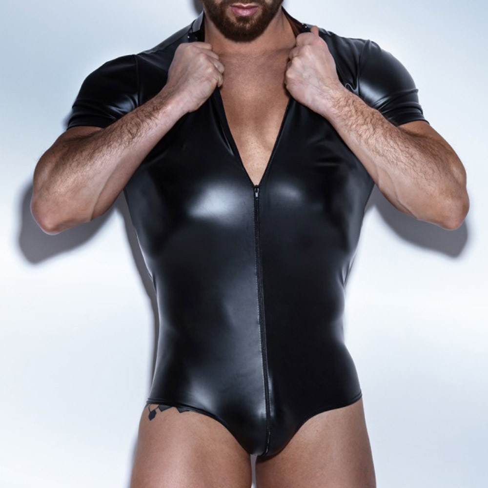New Arrivals PU Leather <font><b>Men</b></font> <font><b>Sexy</b></font> Porno Faux Latex Male Hot Erotic Porno Club Stage Costume Gays Sex <font><b>Lingerie</b></font> Adult Products image