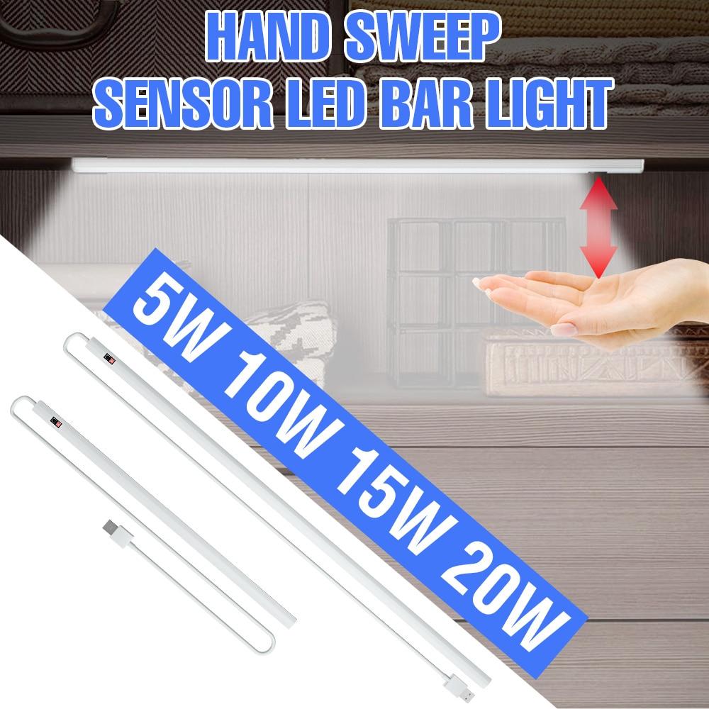 5V USB Power Smart LED Kitchen Light Hand Sweep Sensor Lamp 2835SMD Closet Backlight For Cabinet Wardrobes Drawer 20/30/40/50 Cm