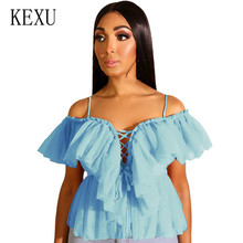 KEXU Women's Summer Strapless Strap Mesh Cut Top Sexy Hollow Out Spaghetti Strap Femme New Arrival Top Elegant Sleeveless Wear laser cut sleeveless peplum top