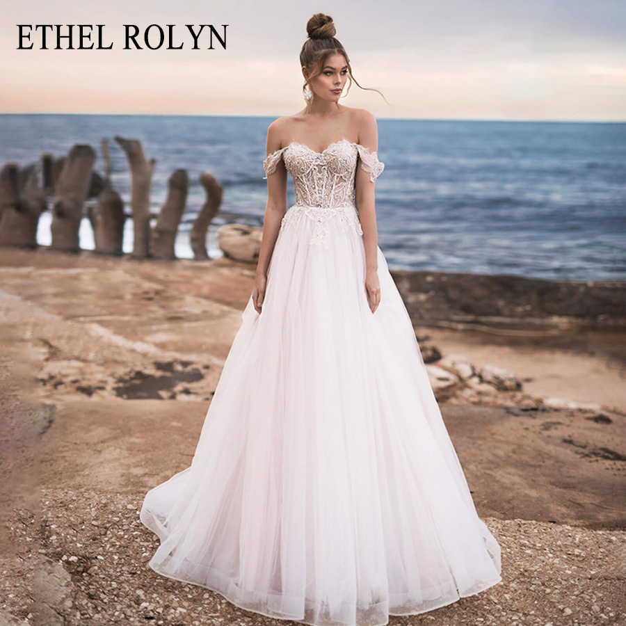 ETHEL ROLYN A Line Wedding Dress 2020 Crystal Lace Beach Bride Dress With Sleeves Lace Up Elegant Wedding Gowns Vestido De Noiva