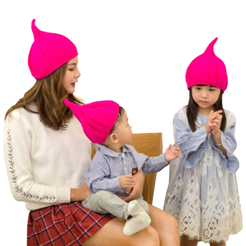 Sparsil Parent Child Winter Knitted   Beanies   Cap Solid Cotton Blend Thin Hat Women Pointed   Skullies   Cap Baby Lovely Boy Bonnet