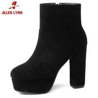 ALLENLYNN/высококачественные ботильоны из флока на платформе; женские ботильоны для женщин на платформе и высоком каблуке; осенне-зимняя обувь ...