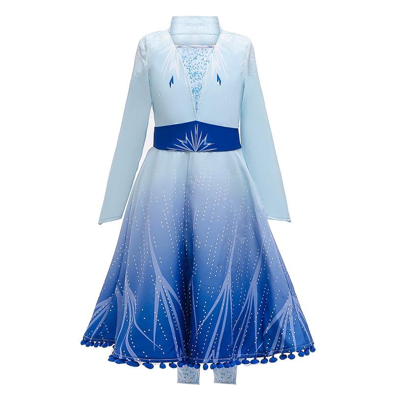 New Dress For Girls Clothing Frozen 2 Elsa Princess Set Christmas Cosplay Elsa Birthday Party Sky Blue Princess Dress 2019