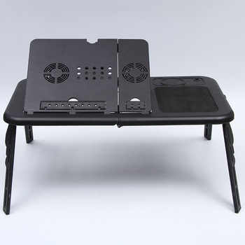 Multifunctional Laptop Table with Adjustable Desktop Angle Portable Foldable Breakfast Tray Table with Heat Dissipation Fan - DISCOUNT ITEM  32 OFF Furniture