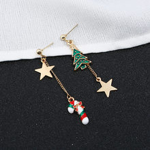 1 Pcs Hot Creative Christmas Ornaments Stylish Christmas SnowmanTree Pentagram Letter Asymmetric Earrings Jewelry for Gift(China)