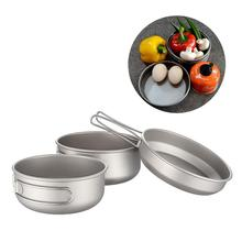 Titanium 3-Piece Pot and Pan Camping Hiking Cookware Set Bowl Outdoor Portable Folding Handle 30JP07