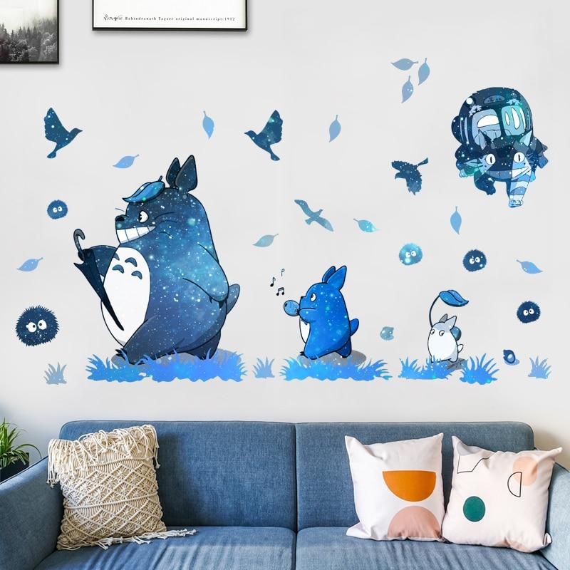 Autocollant mural thème TOTORO, 3 styles de décoration de salle, autocollant mural en EWAYS, jeux de dessin animé
