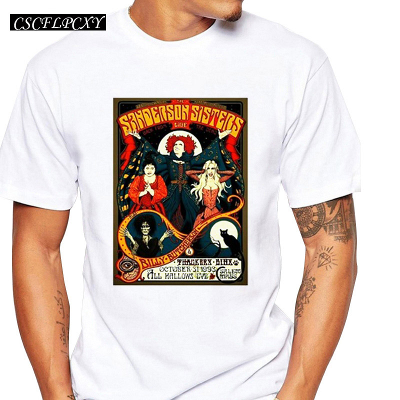 Hocus Pocus <font><b>Sanderson</b></font> Sisters T-<font><b>shirts</b></font> Summer Tops Vintage Tour Poster Print T <font><b>shirt</b></font> Men short sleeve Fashion Tshirts image