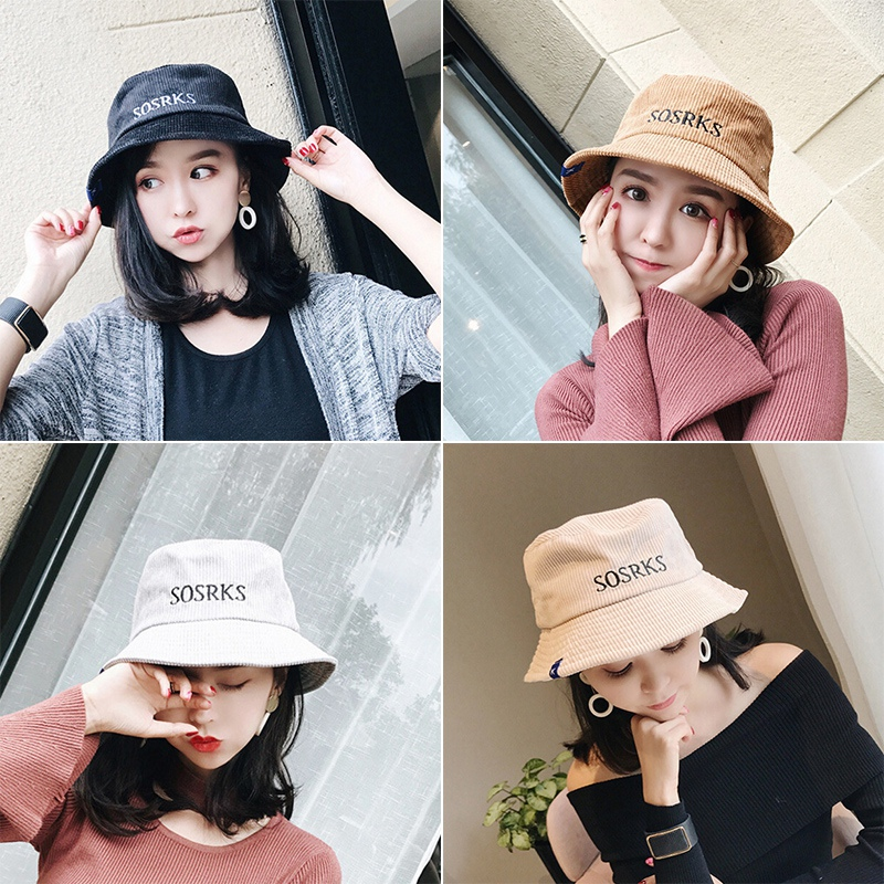 New Fashion Casual Easy Take Away Hip Hop cool outdoor Autumn Caps Travel Hats Women Velvet Bucket Hats With Letter print
