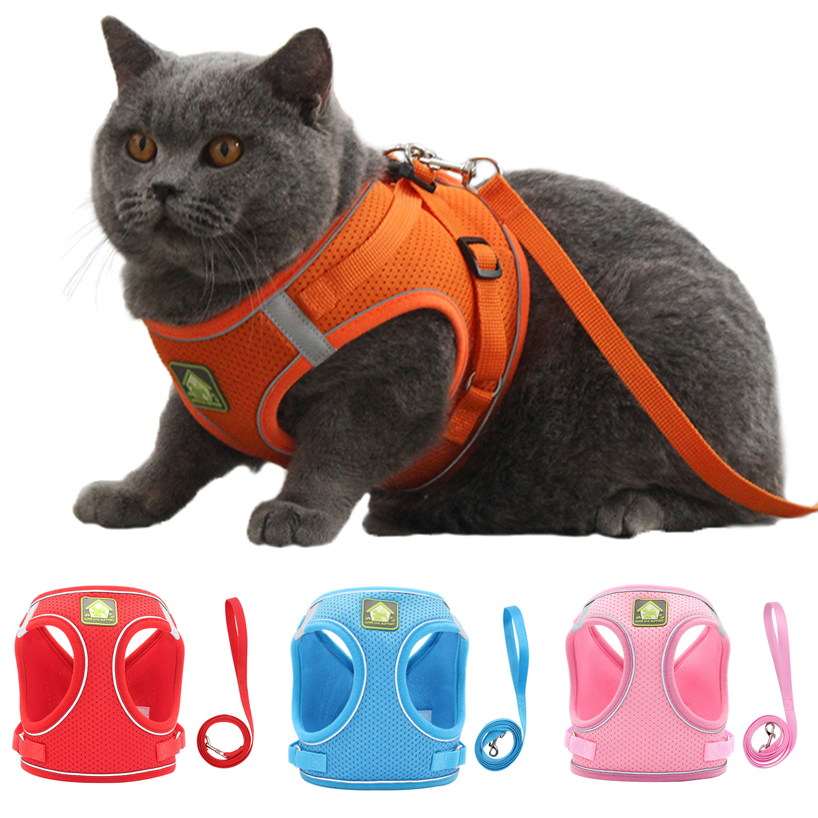 Reflective Puppy Cat Harness Vest With Walking Lead Leash Adjustable Kitten Collar Polyester Mesh Harness For Small Medium Dogs