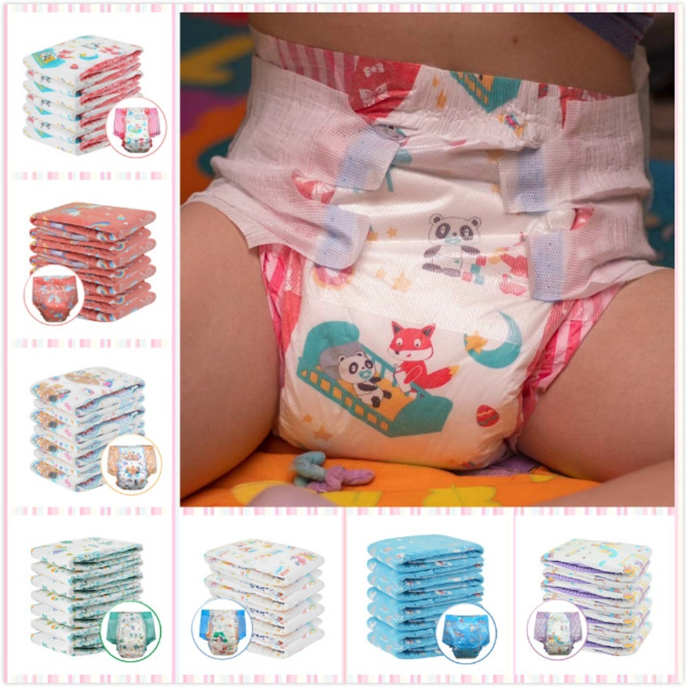 ABDL Adult Diaper Lover Cute Print Patterns Elastic Waistline Diaper DDLG Adult Baby Diaper High Absorption 6000ML Diaper