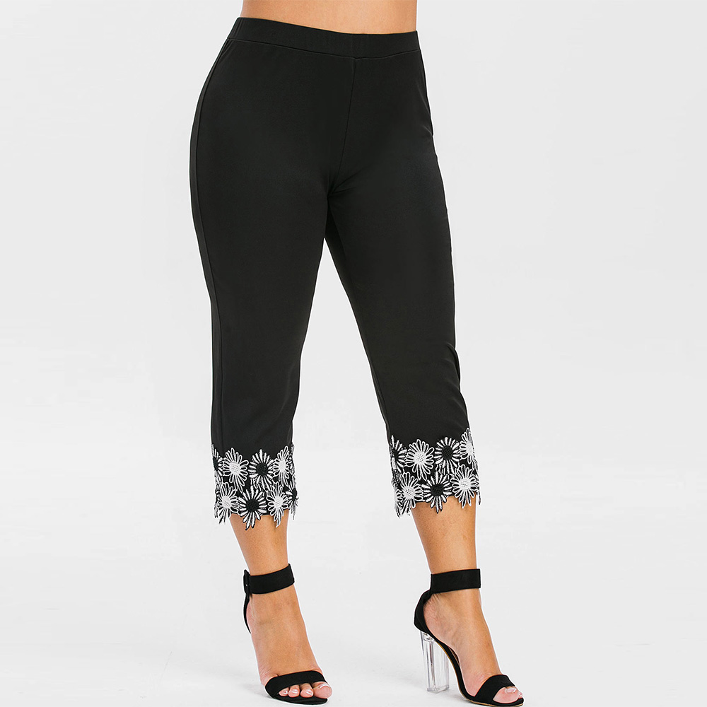 Fashion Plus Size Lace Applique Capri Leggings High Waist Straight Capri Gym Leggings Fitness Women Summer Casual Bottoms 2019