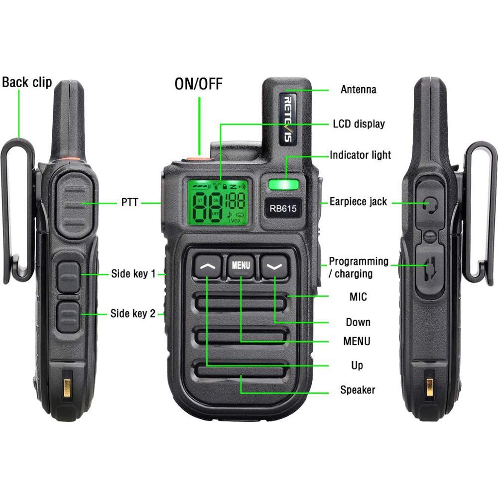 Walkie Talkie con Alarma de Emergencia de Vibraci/ón de Clonaci/ón Inal/ámbrica Radio de 2 V/ías para Ciclismo Tractor Retevis RB615 Walkie Talkie Mini PMR446 Radio Largo Alcance Negro, 5Piezas