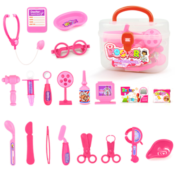 21PCS Medical Tool Toy Kit Pretend Play Kids Pink Play Doctor Nurse Game Children DIY Simulation Toys Stethoscope Medicine Box kids toys doctor set baby suitcases medical kit cosplay dentist nurse simulation medicine box with doll costume stethoscope gift