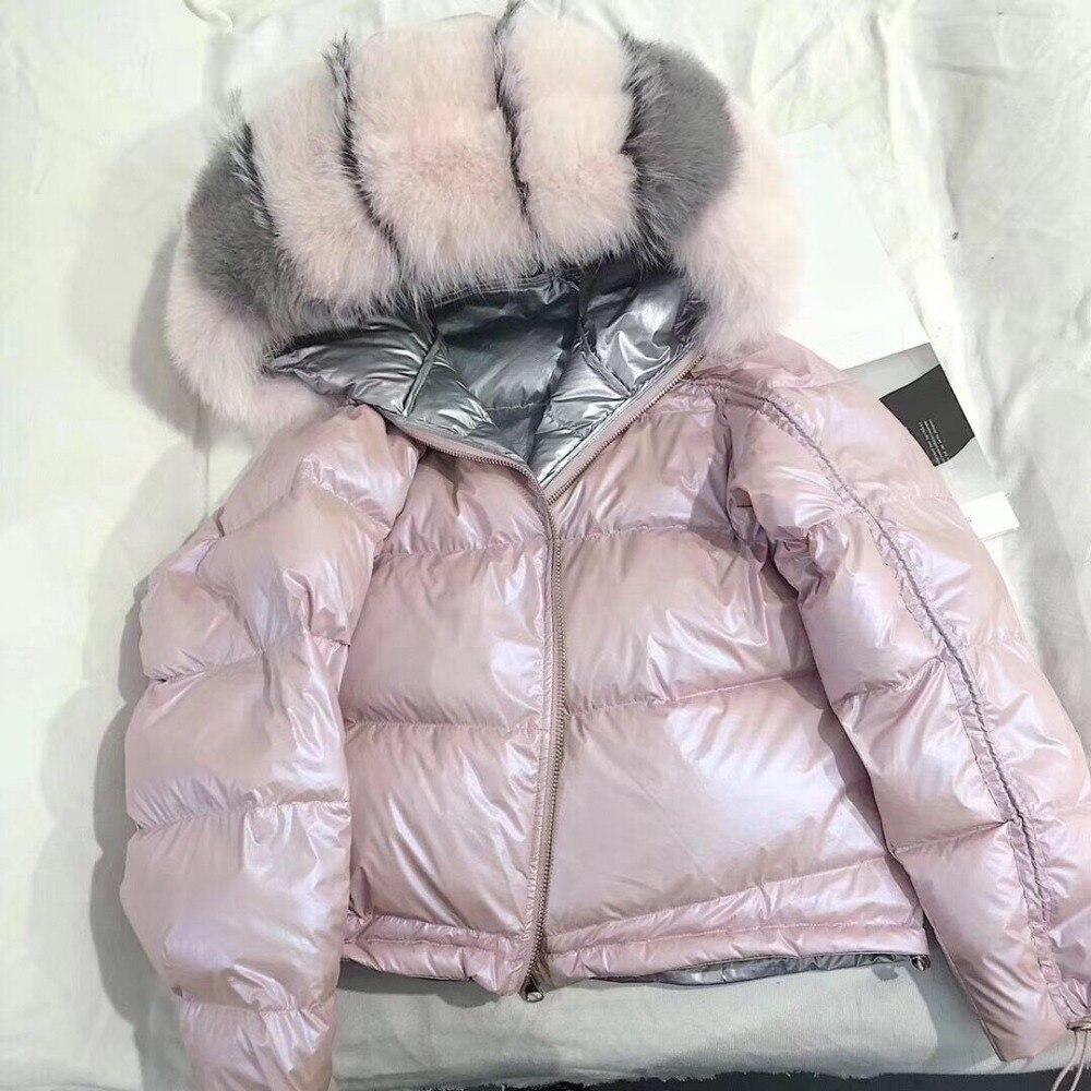 Kadın Giyim'ten Gerçek Kürk'de 2019 kış ceket kadınlar gerçek kürk ceket doğal fox kürk yaka gevşek kısa ceket gümüş beyaz ördek aşağı ceket kore giyim'da  Grup 1