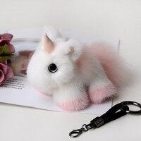 Cute Unicorn Real Mink fur Animal Doll Keyring Handbag Purse Car Key ring Phone Keychain Pendant