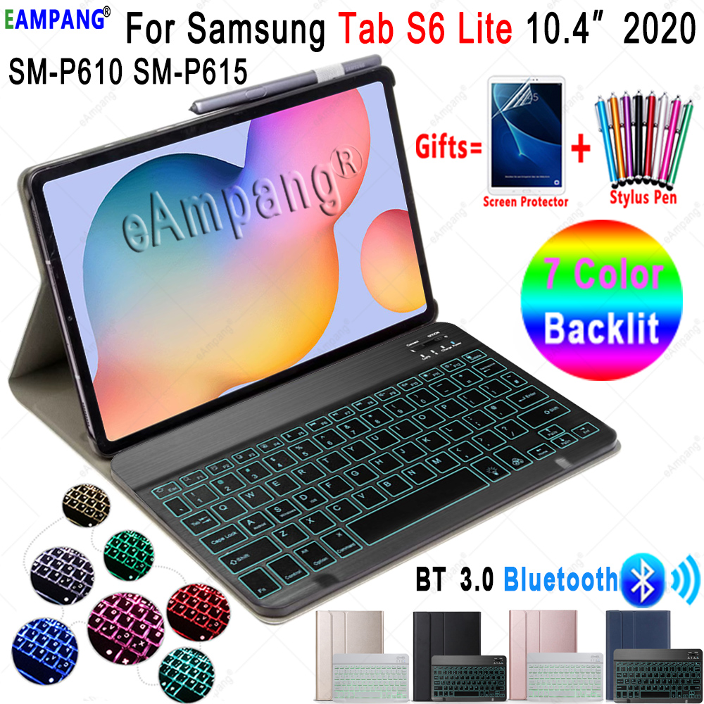 7 Color Backlit Keyboard Case For Samsung Galaxy Tab S6 Lite 10.4 Keyboard Case P610 P615 Cover 3.0 Bluetooth Keyboard Funda