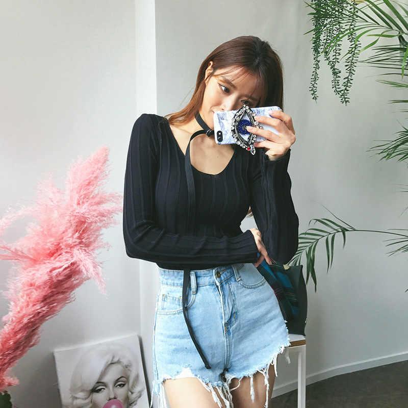 Корейский стиль, модный тонкий джемпер, свитер для женщин, сплошной цвет, рукав, v-образный вырез, Женский пуловер, свитера для женщин, осень 2019, новое поступление