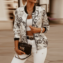 Женская куртка-бомбер с цветочным принтом, повседневная винтажная Женская куртка на молнии с длинным рукавом, элегантные тонкие базовые же...
