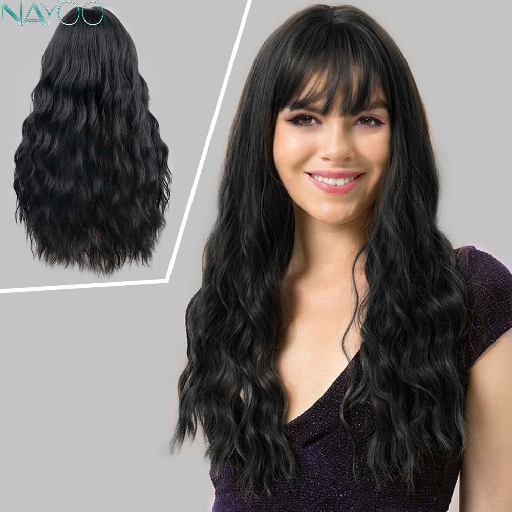 Long Natural Black Curly Women's Wigs Synthetic Loose Wavy Hair For Women Wigs With Bangs For African American Cosplay Party Wig