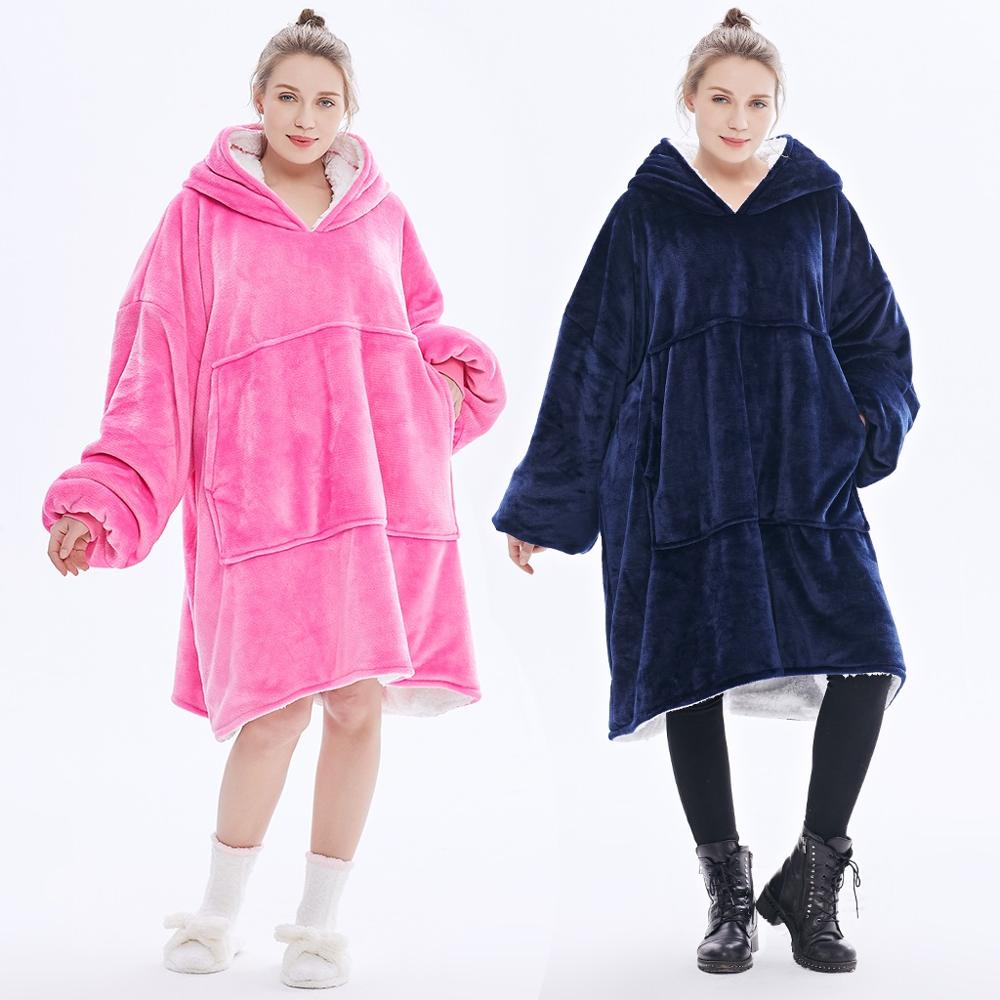Cozy Oversized Hooded Sweatshirt Hoodies TV Blanket Thicken Fleece Coat Pullover 649C