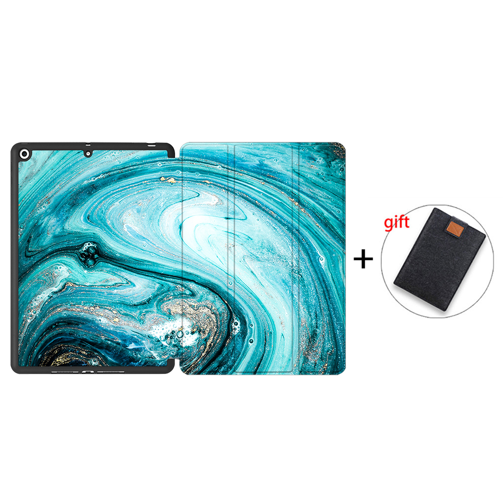 IPTPU13 Silver MTT Soft TPU Back Case For iPad 10 2 inch 7th 8th Gen Marble PU Leather