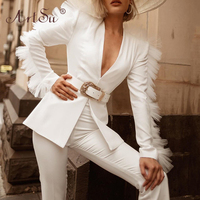 ArtSu Deep V Neck Mesh Spliced Sexy Women Blazer And Shorts Two Piece Set Fashion White Celebrity Suit Ladies Black Party Wear