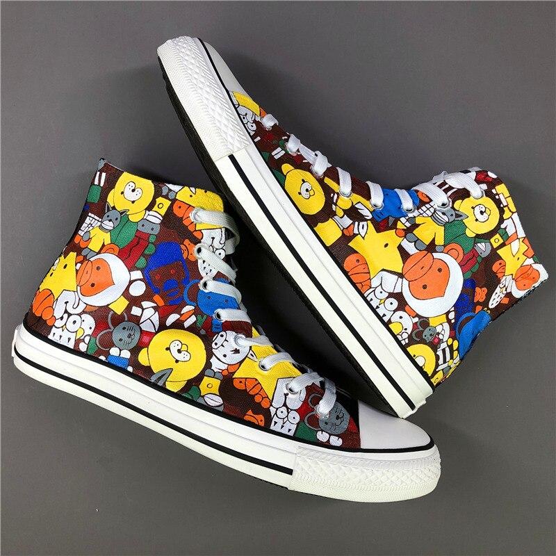 Вэнь оригинальный дизайн на заказ ручная роспись обувь с персонажами мультфильмов высокие мужские и женские парусиновые кроссовки для под
