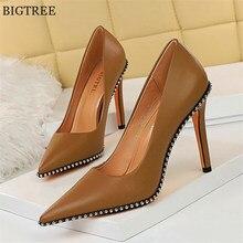 BIGTREE Sexy Rivets chaîne perle chaussures pour femmes parti en cuir souple bout pointu talons hauts pompes printemps peu profond chaussures de bureau femmes