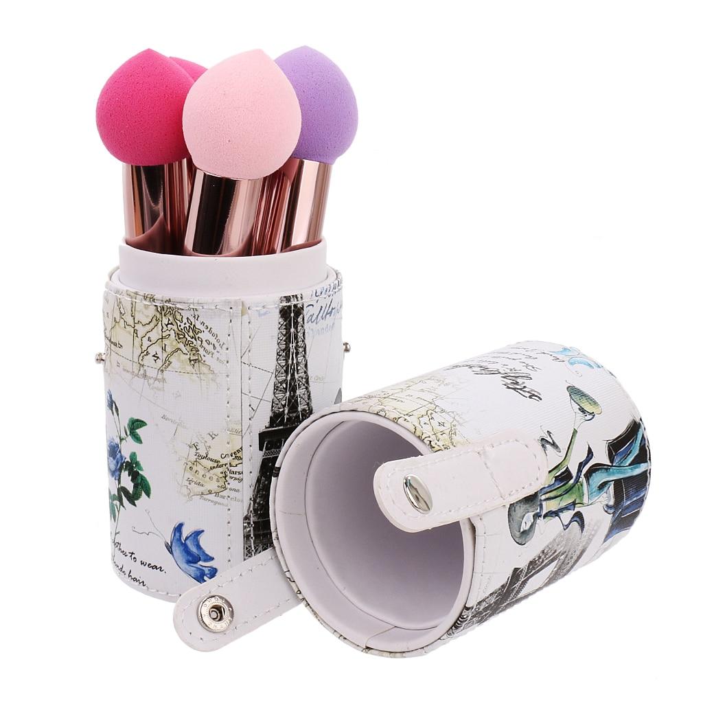 Makeup Brush Holder Cosmetic Brush Case Cylinder Case Double-clasp Storage T