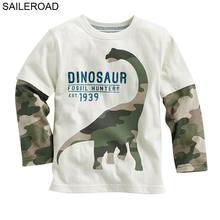 Cartoon dinosaur boys long sleeve t shirt for 18M-6Years old children kids tops tees spring autumn SAILEROAD