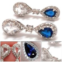 Blue Crystal Pendant Earrings Women's Jewelry New Popular Ear Stud Accessories(China)