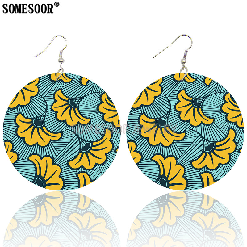 SOMESOOR 6 Bohemian Styles Sell By Pack African Print Wax Textile Wooden Both Sides Printing Fashion Earrings For Women Gifts
