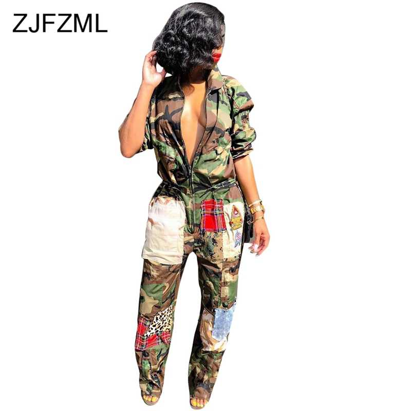 Camouflage Printed Casual Overall For Women Turn-Down Collar Long Sleeve Harajuku Jumpsuit  Streetwear Front Zipper Party Romper