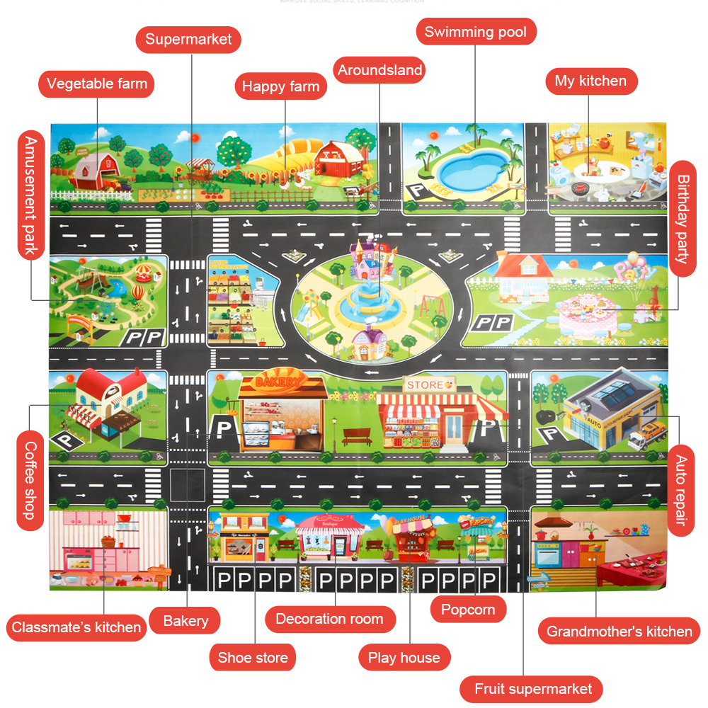 130x100 CM Large Playground Scene Simulation Play Mat City Traffic Parking Area Traffic Rules Maps Pads For Kids Learning Toys | Happy Baby Mama