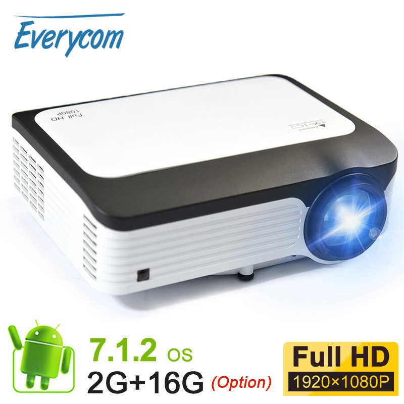 Mini proyector 1080p everycom Full HD nativa de 1920*1080 de vídeo portátil LED Proyector WIFI Smart Android Proyector Beamer