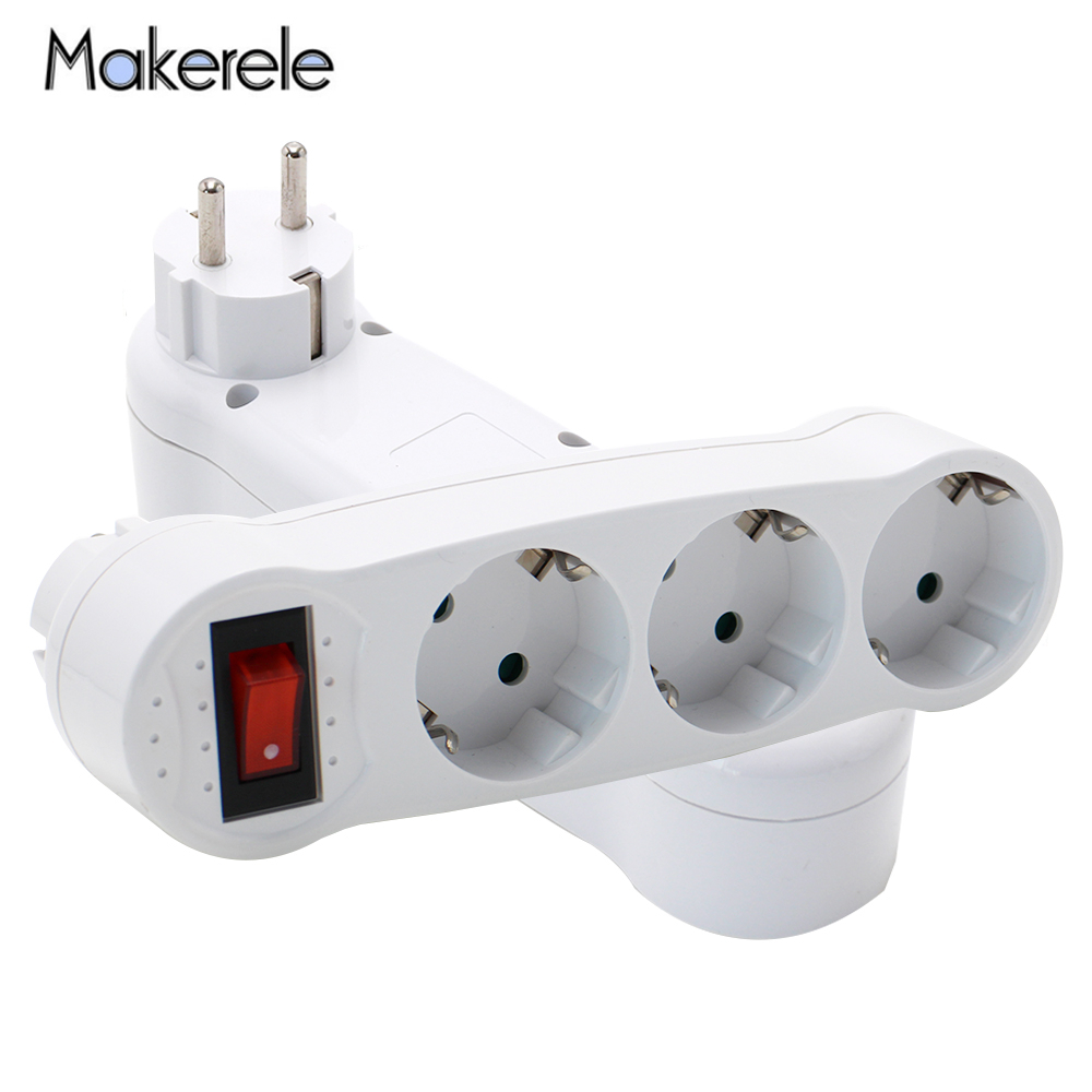 EU Standard Conversion Socket Wireless Socket 6A/250V German Style Plug 1 TO 3 Way Power Adapter Expansion Socket MK-AJ-1C3EU