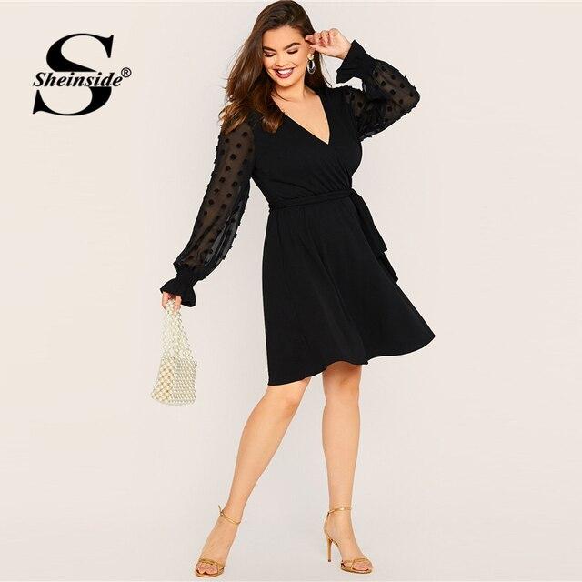Sheinside Plus Size Elegant Black Dot Mesh Sleeve A Line Dress Women 2019 Autumn Flounce Sleeve V Neck Wrap Belted Dresses 4