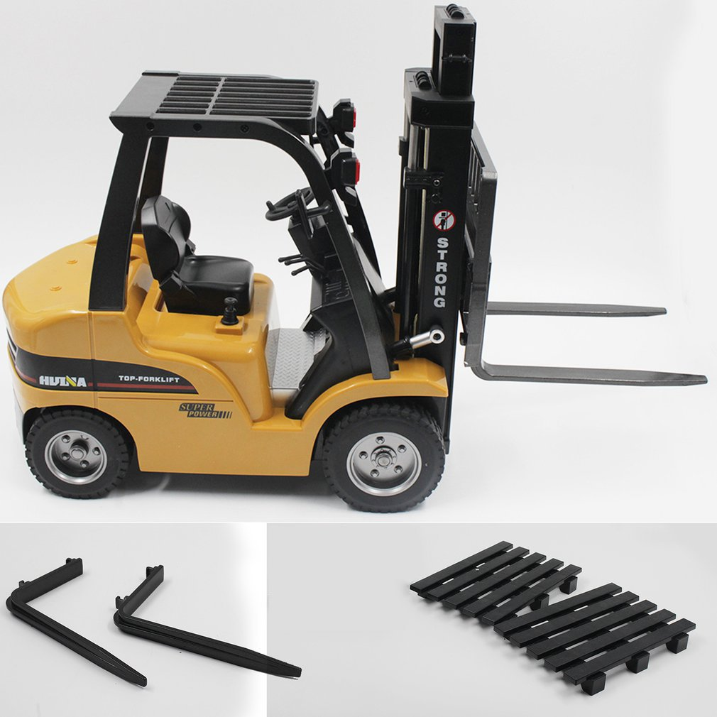 HUINA TOYS 1577 1/10 8CH Alloy RC Forklift <font><b>Truck</b></font> Crane <font><b>Truck</b></font> Construction Car Vehicle Toy with Sound <font><b>Light</b></font> Workbench Lift RTR image